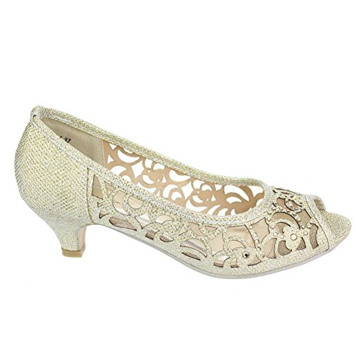Frau Damen Abend Party Peeptoe Diamante Keilabsatz Sandalen Schuhe Größe Gold