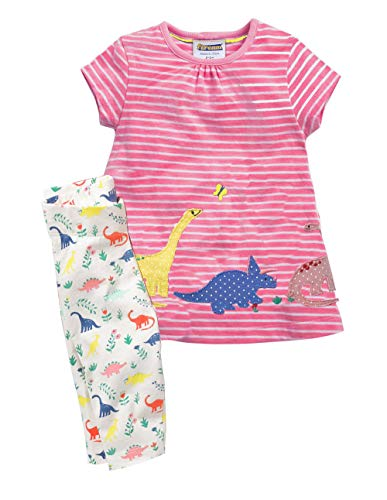 Fiream Girls Cotton Clothing Sets Summer Shortsleeve Dinosaur Dress Capri Pants 2 Pieces Clothing Sets(SY047,2T) -