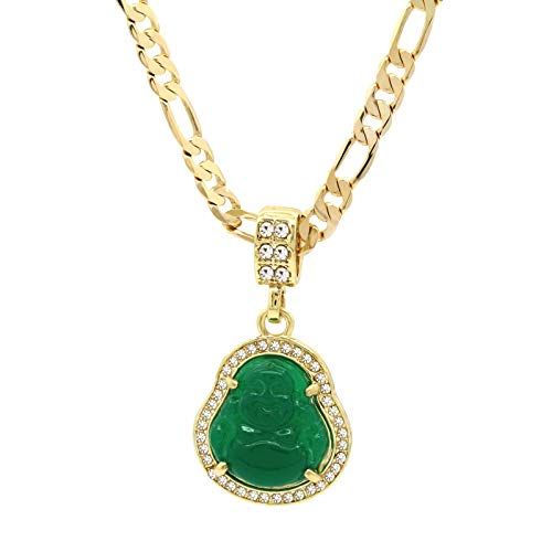 L & L Nation 14K Gold Plated High Fashion Lucky Smiling Buddha Charm Pendant Green Red White Black Blue On Valentino Chain (1.Green)