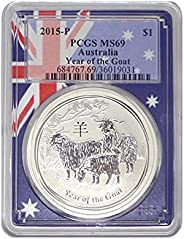 2015 AU Year of the Goat Silver 1 Ounce Coin Dollar MS69 PCGS