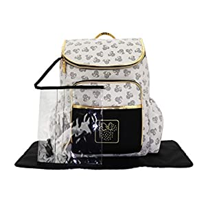 Cudlie Disney Minnie Mouse Backpack Diaper Bag Gold Metallic Toss Head (Includes Wet Pocket & Changing Pad), Minnie…