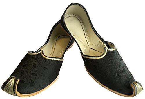 Scarpe Da Uomo Nere Stile Khussa Punjabi Juti Scarpe Etniche Artigianali Mojari Sherwani