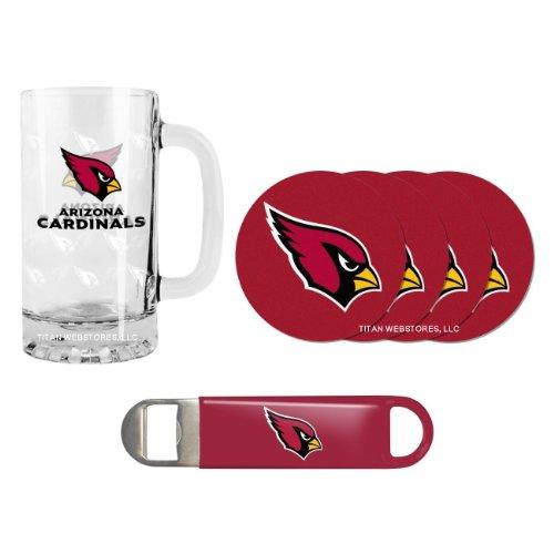 NFL Football Satin Etched Beer Mug, Bottle Opener & Coasters Set - 16 ounce Tankard Gift Set (Cardinals Beer Mug)