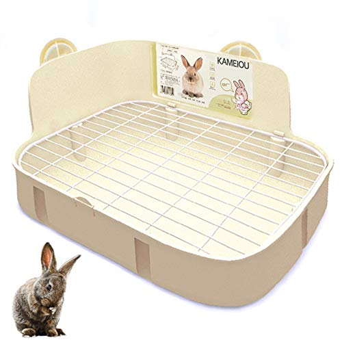 (White Rabbit Litter Box Toilet for Ferret Galesaur Guinea Pig Bunny Rabbits Corner Litter Pan Potty Trainer with Stainless Steel Panel Small Pets Guinea Pig Bunny Ferret Rabbit Cage Toilet Bedding Box)