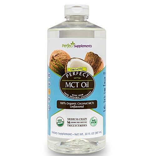 Perfect MCT Oil, 100% Organic Coconut MCT Oil, Non-GMO, 30 Oz, Unflavored, Great for Keto Diets