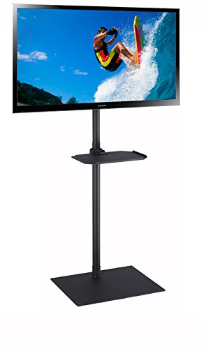 (Elitech TV Portable Floor Stand with Middle Shelf and Height Adjustable Mount for Flat Panel Screen 32