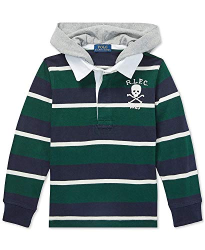 Ralph Lauren Polo Boys Striped Hooded Cotton Rugby Shirt (Green, 4/4T) (Striped Hooded Rugby)