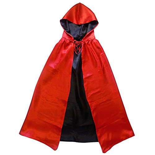 Superhero or Princess REVERSIBLE HOODED CAPE Kids Adult Halloween Costume Cloak (XS/S (30 Inches), Red & (Cinderella Fairy Godmother Costume)