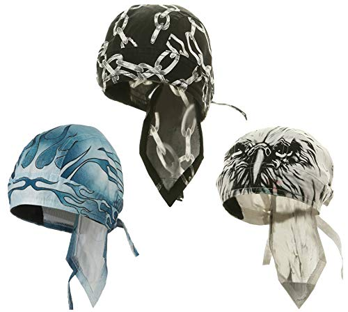 Doo-Rag with SWEATBAND Skull Cap Do-Bandana Du-Wrap Helmet Liner 3 Pack Bundle -