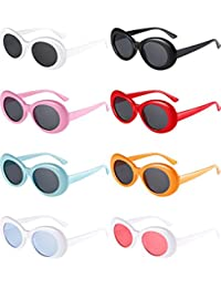 8 Pairs of Clout Oval Goggles Retro Kurt Mod Thick Frame Round Lens Sunglasses Goggles 8 Colors for Women Men (color 1)