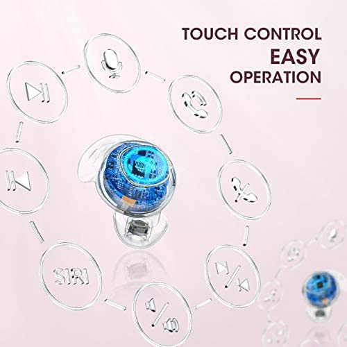 Wireless Earbuds, Mpow M30 in-Ear Bluetooth Headphones, Immersive Bass Sound, IPX8 Waterproof Sport Earbuds, Touch Control, 25 Hrs w/USB-C Charging Case/Mics, Ashy Pink