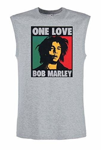BOB MARLEY ONE LOVE Reggae Rock Rules schwarze Fun Music Top Tank Shirt -2066-Grau