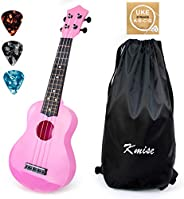 Kmise 21 Inch Soprano Ukulele for Kids Adult Beginners Toys Gift Ukelele with Gig Bag Picks String (Pink)