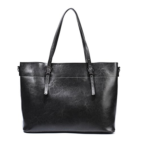 Women Vintage Tote Purses,Large Genuine Leather Handbags Fits 13.3-14.1 Laptop Work Bags (Gray3)