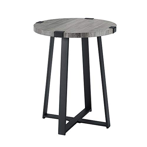 WE Furniture AZF18MWSTSG Industrial Round Metal Wrap Side End Table, 18