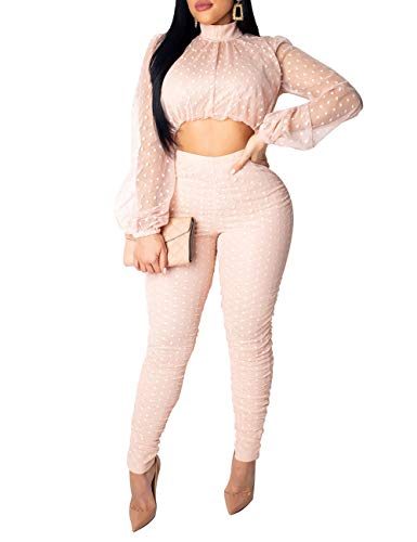 Womens Multiple Colors dot Mesh Panel Lantern Sleeve Button Turtleneck top Lace See Through Pants Bodycon Pants Suit Party Club Sexy Lady 2 Piece Outfits Pink M