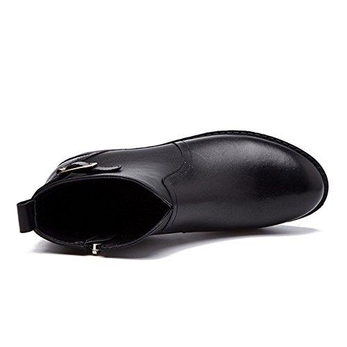 Giy Femmes Mode Courte Fourrure Doublure Martin Bottes Sangle Boucle Talon Empilé Talon Cheville Hiver Chaussures De Chausson Noir Sans Doublure De Fourrure