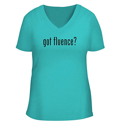 BH Cool Designs got Fluence? - Cute Women's V Neck Graphic Tee, Aqua, (04 Aqua Shower Door)
