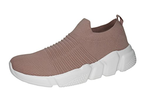 (ROXY ROSE Lightweight Sneakers Slip On Mesh Women Casual Running Shoes (9 B(M) US, Salmon))