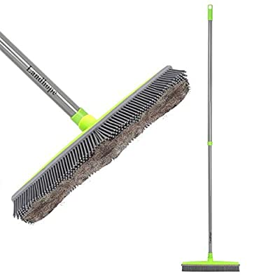Push Broom Long Handle Rubber Bristles Sweeper Squeegee Edge 54 inches Non Scratch Bristle Broom for Pet Cat Dog Hair Carpet Hardwood Tile Windows Clean Water Resistant
