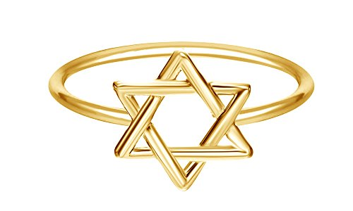 Star of David Jewish Magen Hebrew Shield 14k Yellow Gold Over Sterling Silver Star Symbol Ring 14k Yg Mens Ring