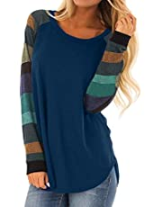 Malaven Womens Casual Color Block Long Sleeve Pullover Tops Loose Lightweight Tunic Shirt