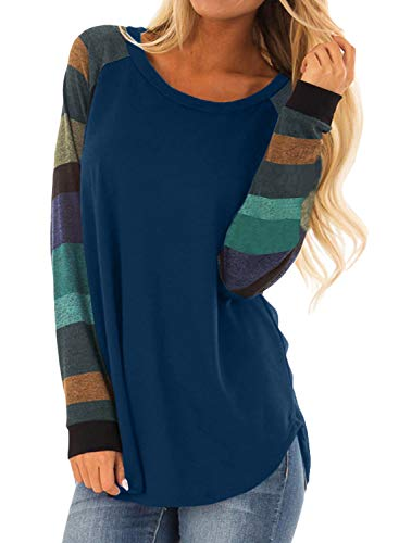 Asvivid Womens Color Block Striped Long Sleeve Tunics Sweatshirt Winter Knitted Pullover Tops Loose Plus Size 1X Blue