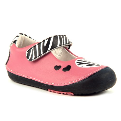 Momo Baby Girls First Walker/Toddler Zebra Hearts Pink Mary Jane Leather Shoes - 7 M US (Pnk Pink Leather)