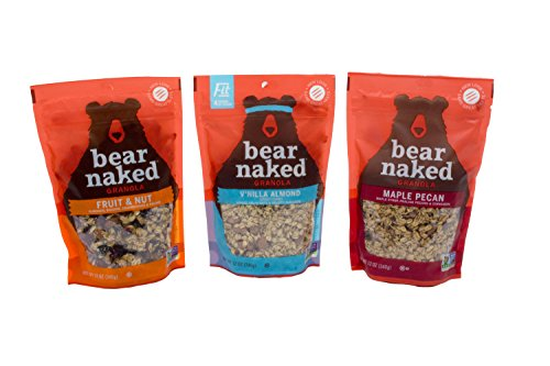 Bear Naked 100% Natural Granola 3 Flavor Variety Pack: (1) Bear Naked Maple-icious Pecan Granola, (1) Bear Naked V'nilla Almond Fit Granola, and (1) Bear Naked Fruit And Nutty Granola, 12 Oz. Ea. (Maple Granola Recipe)