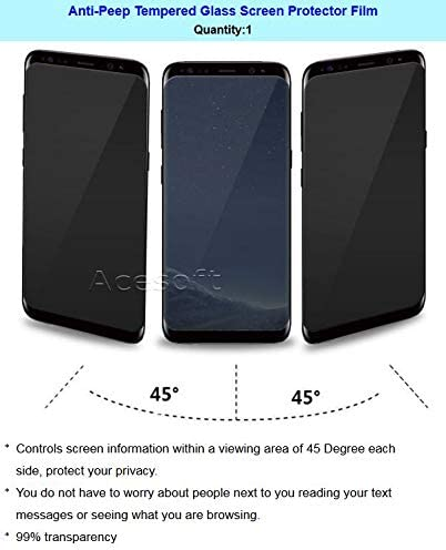 Galaxy S8 Privacy Screen Protector, Anti-Peeping Full Coverage Case Friendly Easy to Install Tempered Glass Screen Protector for Sumsung Galaxy S8 SM-G950U Phone 3D Curved Edge