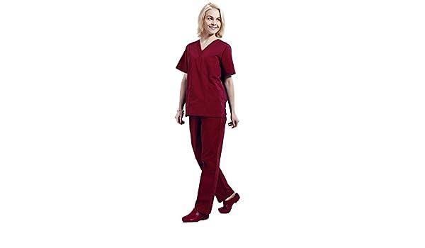 Free Fisher Camisa y Pantalón uniforme médico Unisex Mujeres Ropa para Enfermería, Rojo M: Amazon.es: Ropa y accesorios
