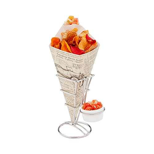 Conetek 10-Inch Eco-Friendly Finger Food Cones with Built-in Condiment Dipping Pocket: Perfect for Appetizers – Food-Safe Paper Cone with Newsprint Styling – Disposable and Recyclable – 100-CT ()