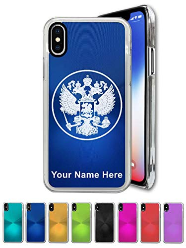- Case Compatible with iPhone Xs MAX, Coat of Arms Russia, Personalized Engraving Included