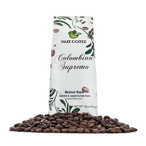 (Hazz Gourmet Colombian Supremo Whole Bean Coffee, Medium Dark Roast,Rich, Smooth,Fair Trade 1 pound)