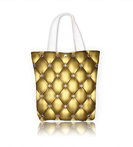 Canvas Tote Handbag Golden leather upholstery with diamond buttons 3d Men And Women Shopping Tote W16.5xH14xD7 INCH