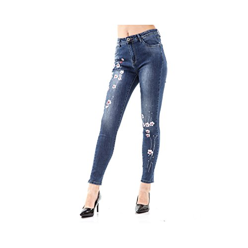 Pantaloni Donna 5 Denim Stampe Jeans Fit Da Tasche Blu Slim Con Floreali Scuro rXSrwTxqE
