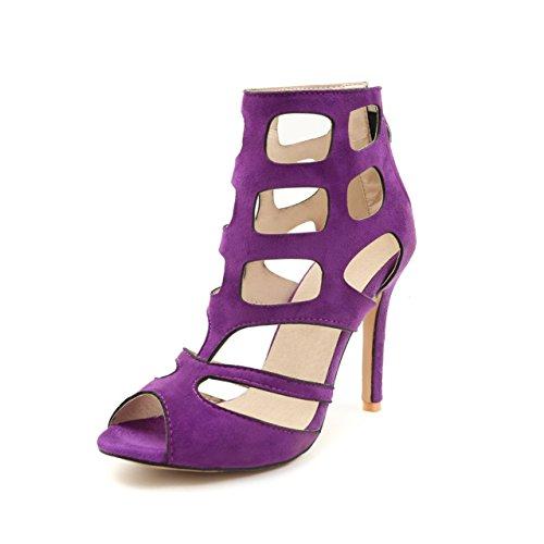 Zapatos de mujer Zapatos de primavera y verano, Mujeres Sandalias de tacón bajo Zapatos de mujer romana con cordones Sandalias de tirantes Peep Toe Zapatos de mujer (Color : Púrpura, tamaño : 42) Púrpura