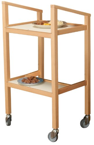 NRS Home Helper Classic Wooden Wheeled Household Trolley with Two Shelves by NRS Healthcare