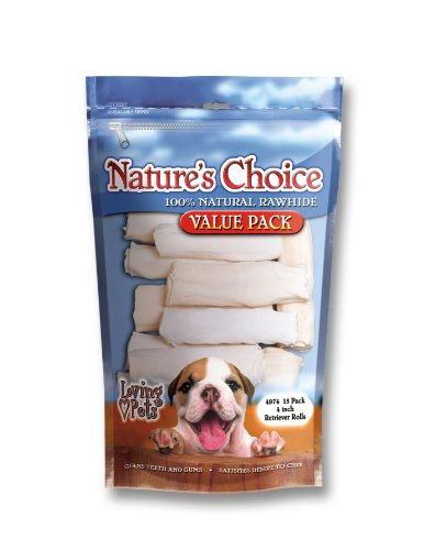 Loving Pets Nature's Choice 100-Percent Natural Rawhide White Retriever Rolls Dog Treat, 4-Inch, 13/Pack, My Pet Supplies