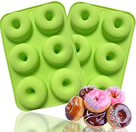 Silicone Doughnut Baking Mold 2 Pc Non-stick Donut Molds for Cake Biscuit Bagels Silicone Donut Pan Green + Orange