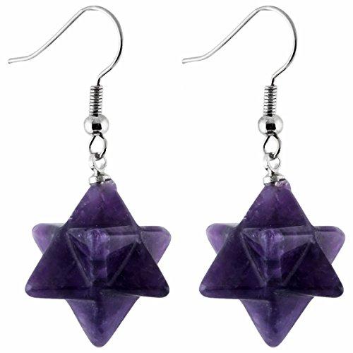 TUMBEELLUWA Merkaba Dangle Earrings for Women, Semi Precious Stone Healing Crystal Chakra Jewelry, Purple Amethyst ()