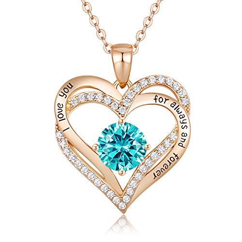 CDE Collares de Corazón para Mujer de Plata 925 Collares Colgante de Mujer Colgante de Diamantes Niña, con Caja Regalo…