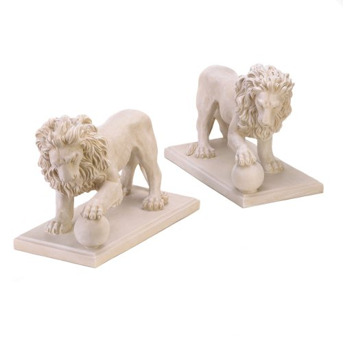 Furniture Creations Set of 2 Stately Lion Statue Duo Driveway Entrance Garden Yard Art (Resin Lion Outdoor Statues)