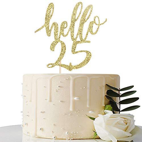 Hello 25 Cake Topper - 25th Birthday / 25th Anniversary Party Cake Decoration, 25th Birthday / 25th Anniversary Party Decorations Supplies (Gold, Hello 25)