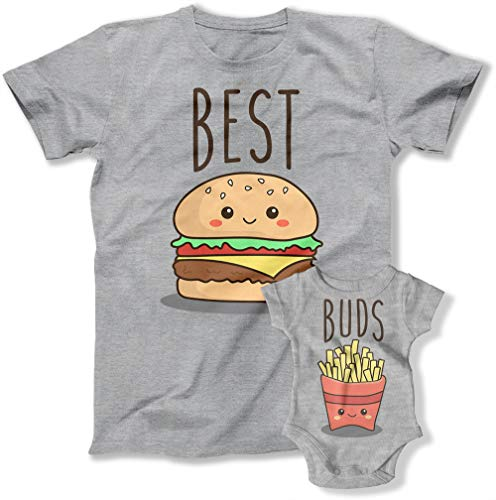 Teepinch Father and Son Matching T-Shirt Sets for Dad and Kid Gifts for Fathers Day Shirts Gift for Husband (Dad Large/Baby 12M, TEP-1137-1138 (Best Buds))