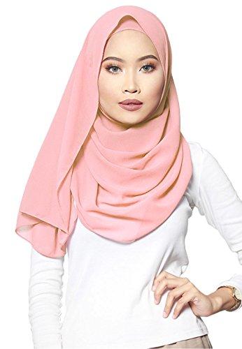 ❤️ SAFIYA - Hijab for muslim women I Long headscarf islamic scarf turban pashmina shawl cap underscarf pins I Chiffon I Light pink - 75x180cm