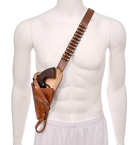 - World War Supply M3 Left Hand Victory Revolver Premium Brown Drum Dyed Leather Tanker Shoulder Holster with Shell Loops Marked JT&L 1943 Holster Only