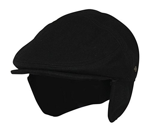 Large Black Wool Winter Ivy Cabbie Hat w/ Earflaps – Driving Hat