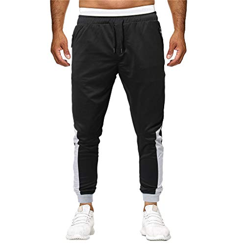 Sunyastor Fashion Men's Sport Jogger Pants Patchwork Loose Slim Fit Sweatpants Fitness Activewear Drawstring Pant Black