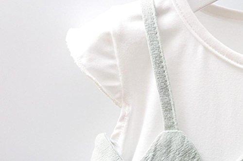 Tefamore Sommer Neugeborenes Kleinkind Baby Mädchen Bowknot Patchwork Strap Lässige Kleidung Grün